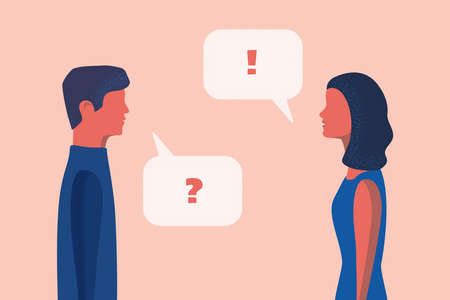 Man and woman discuss social network. Vector illustration flat design with speech bubbles and place for text for blogs, social media, adv.