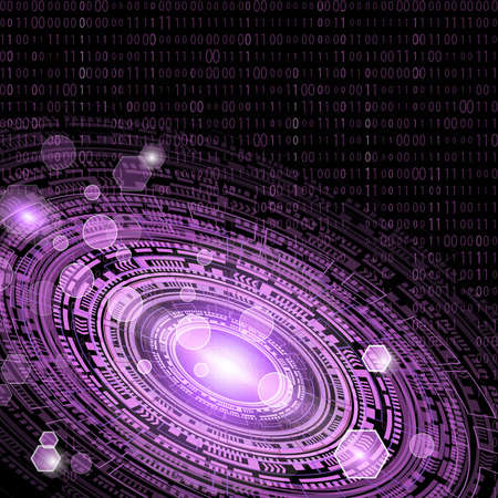 Technological circle and informatics of abstract background with code matrix. Business and communication. Internet cyber and network theme.