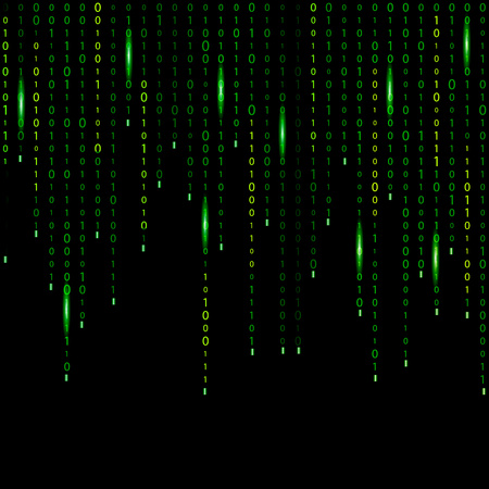 Electronic digital set, processed calculations, encrypted information, secret information. Matrix, code, time, number.