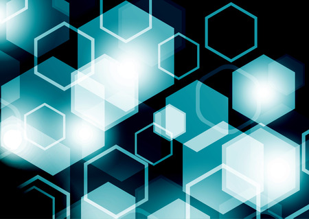 Bright abstract techno background with hexagons and glowing sparks. Illustration