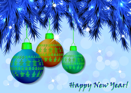 New Year, Christmas background with festive balls and fir branches. Design and decoration. Vector illustration.
