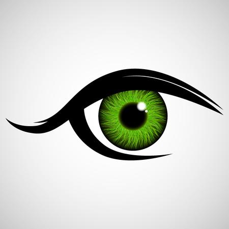 Het menselijk oog, kijk. Iris. Oogheelkundige lenzen. Vector illustratie. Vector Illustratie