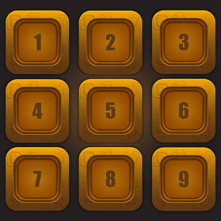 A set of colorful buttons with numbers from one to nine on a dark background. Vector design element.