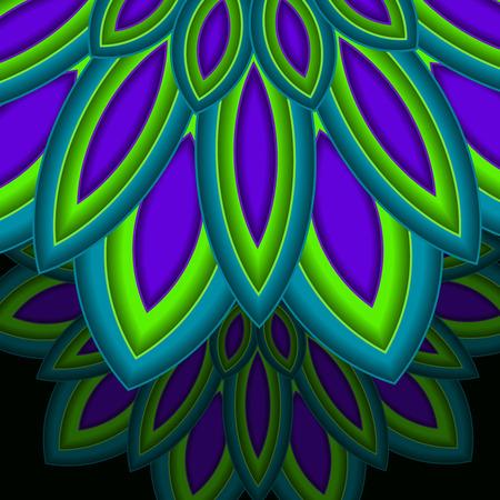 Bright colorful mandala, floral emblem, round ornamental dark background. Geometric pattern. Vector illustration