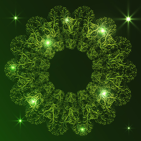 Elegant ornament on a dark background. Inner light, sparks. Stylish decorative design. Vector illustration.