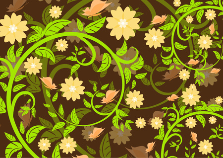 Bright floral ornament with butterflies on a dark background .Vector illustration. 矢量图像