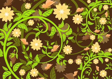 Ornement floral lumineux avec des papillons sur fond sombre. Illustration vectorielle.