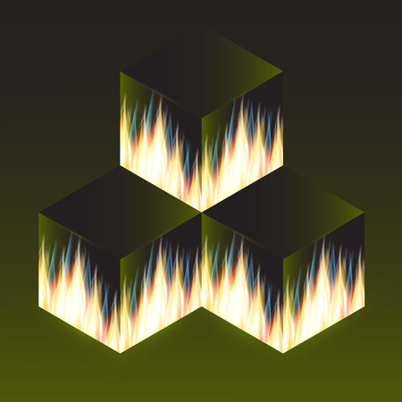 Flame of fire on the edges of a dark cube. Vector illustration.
