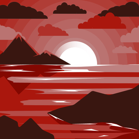 Abstract image of sunset, dawn sun and river in the mountains. Creative design in bright colors. Vector illustration.