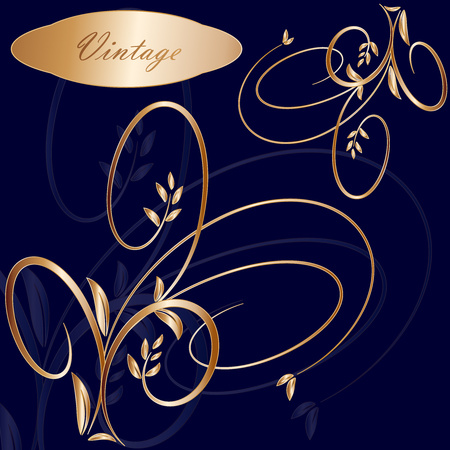 Bright vintage frame on black background. Vector illustration