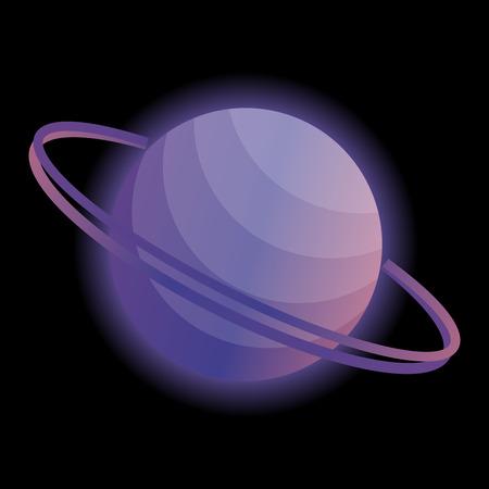 Planète rougeoyante de Saturne sur fond noir. Planète avec des anneaux pour votre conception. Illustration vectorielle.
