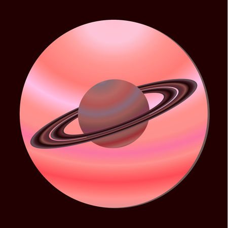 The icon of the planet Saturn view from the porthole. Space design. Vector illustration in flat style.