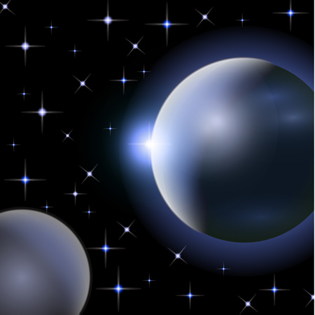 Abstract universe with planets and bright stars. Effects of halo light on a dark background, flashes of light. Vector space illustration.