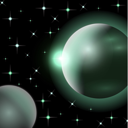 Abstract universe with planets and bright stars. Effects of halo light on a dark background, flashes of light. Vector space illustration. Illustration