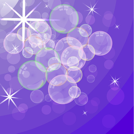 Soap foam on the background of the gradient. Realistic 3d water bubbles. Realistic bubbles of color liquid foam. Cosmetic flyer. Shampoo, bath and shower soap. Vector illustration.