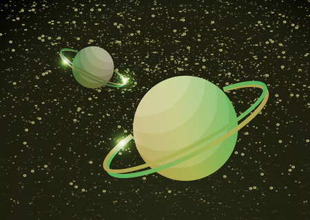 Fantastic space background with uncharted planets with a ring, stars and nebulae. Vector illustration