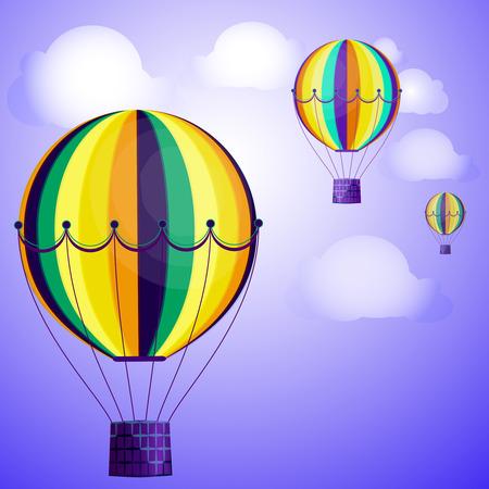 Grandi palloncini colorati si librano contro il cielo luminoso e le nuvole. Illustrazione vettoriale per il tuo design. Vettoriali