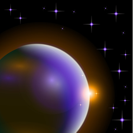 Abstract universe with planets and bright stars. Effects of halo light on a dark background, flashes of light. Vector space illustration. Vettoriali