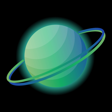 Glowing planet of Saturn on a black background. Planet with rings for your design. Vector illustration.
