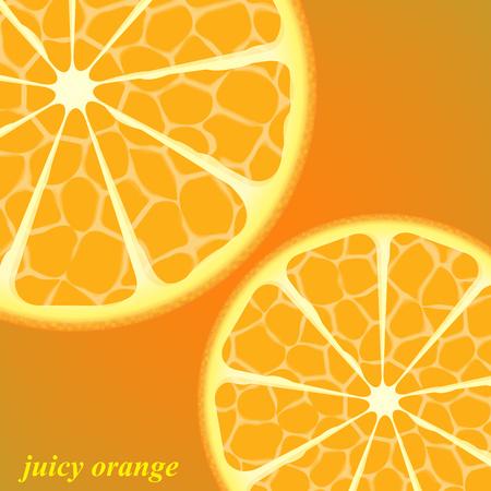 Round slice of fresh juicy orange isolated on bright orange background. Vector illustration for your design. 向量圖像