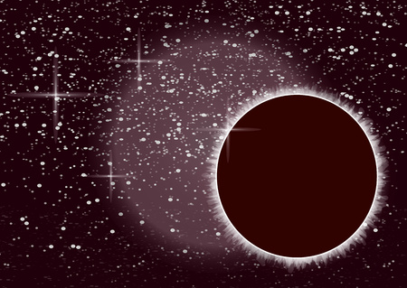 Abstract universe. Creative background outer space with eclipse. Vector illustration.