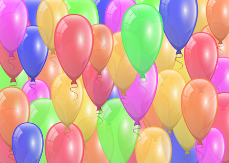 Beautiful festive background design with lots of colored balloons. Holiday decor element for your greeting card design. Vector illustration