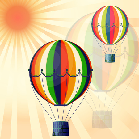 Large colored balloons soar against the bright sky and the sun. Creative vector illustration for your design. 向量圖像