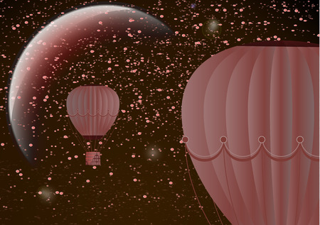 Large balloon on a dark night cosmic background with planets and bright stars. Fantasy. Vector illustration Vettoriali