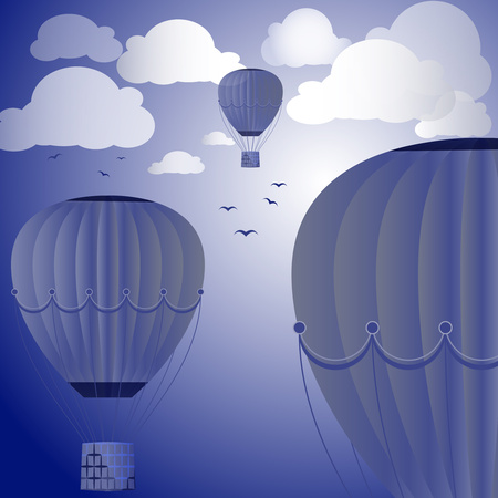 Large colored balloons soar against the evening sky, clouds and birds. Vector illustration for your design. 일러스트