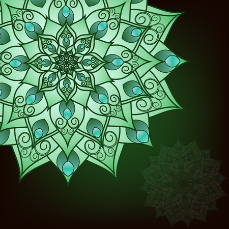 Flyer, postcard with mandala green floral patterns, oriental design. Layout template Islamic, Arab, Indian, Ottoman, Asian motifs. First and back pages. Easy to use and edit. Vector graphics Çizim