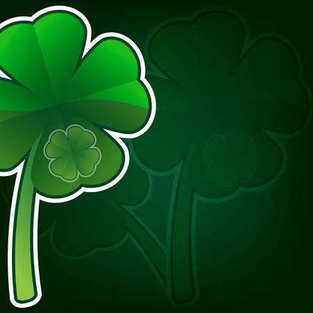 Creative clover leaf for your design on a colored background. Vector illustration.