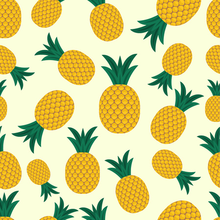 Bright seamless vector pattern with ripe pineapples. Summer colorful tropical textile print. Vector graphics