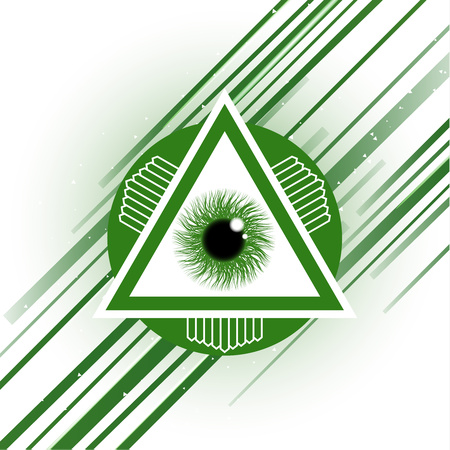The symbol of the all-seeing eye of God. Modern creative design on a white background. Vector illustration. Imagens - 117203560
