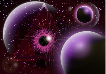 The symbol of the all-seeing eye of God. Modern creative design on the background of the planets. Vector illustration
