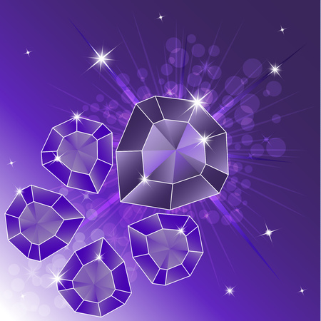 A set of precious stones, diamond. Magic crystals on a bright background. Five crystals are isolated, shiny, sparkling. Vector graphics Ilustração Vetorial