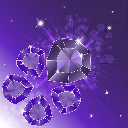 Un conjunto de piedras preciosas, diamante. Cristales mágicos sobre un fondo brillante. Cinco cristales están aislados, brillantes, centelleantes. Gráficos vectoriales Ilustración de vector