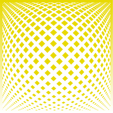 Bright decorative pattern with a halftone transition from small squares and rhombuses. Curvilinear arrangement. Layout design for business, design for decoration, covers, packaging - vector graphics Ilustração