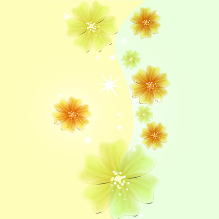 Abstract creative background in the form of bright delicate blooming flowers - Vector Graphics Banco de Imagens - 125051443