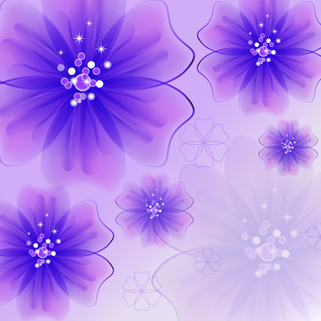 Abstract creative background in the form of bright delicate blooming flowers - Vector Graphics Banco de Imagens - 125051449