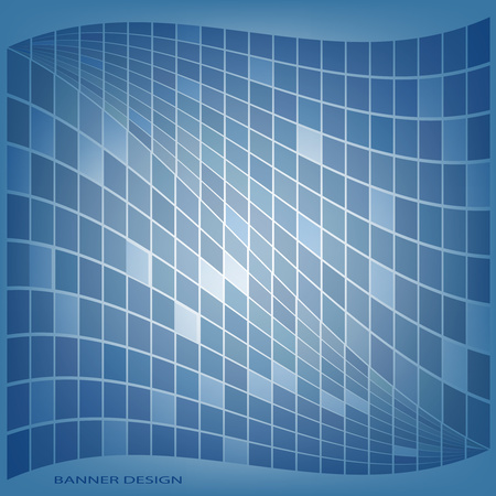 Abstract geometric composition with a wavy mosaic on a bright color background. Vector illustration for your design.