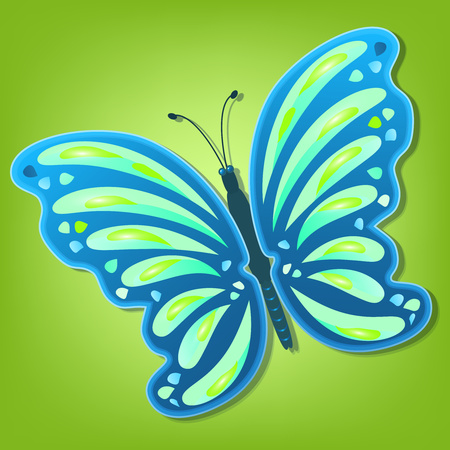 Beautiful colorful abstract butterfly with a shadow on a colored background. Vector illustration
