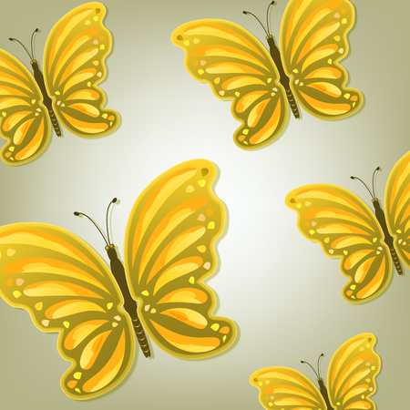 Abstract background of beautiful bright colorful butterflies with shadow. Vector illustration Ilustração
