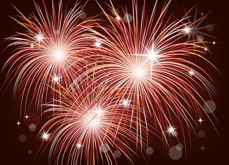 Fuegos artificiales de colores brillantes en el cielo nocturno. Diversión de las fiestas. ilustración vectorial para su diseño. Ilustración de vector