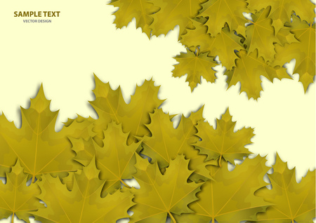 Abstract background from a variety of bright maple leaves on a light background. Stylish modern design for flyers, posters, flyers, banners. Vector illustration Stock Vector - 124768452