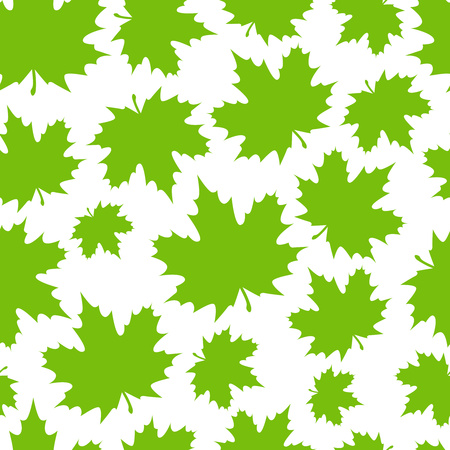 Abstract background from a variety of bright maple leaves on a white background. Seamless pattern. Stylish modern design for fabric, textiles, flyers, posters, flyers, banners. Vector illustration