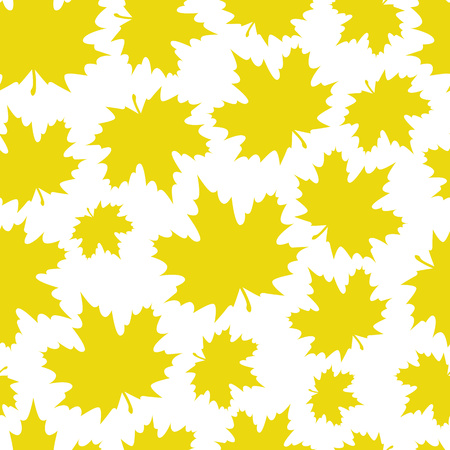 Abstract background from a variety of bright maple leaves on a white background. Seamless pattern. Stylish modern design for fabric, textiles, flyers, posters, flyers, banners. Vector illustration Stock Vector - 124768470