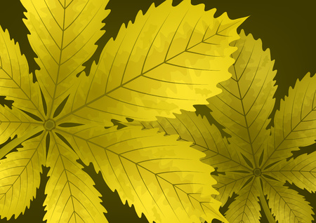 Bright stylish abstract background with chestnut leaves for your design. Vector illustration