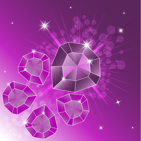 A set of precious stones, diamond. Magic crystals on a bright background. Five crystals are isolated, shiny, sparkling. Vector graphics Ilustrace