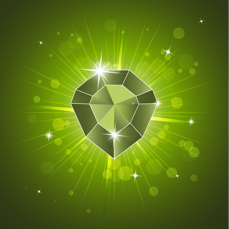 Gemstone, diamond. Magic crystal on a bright background. Isolated, brilliant, sparkling. Vector graphics