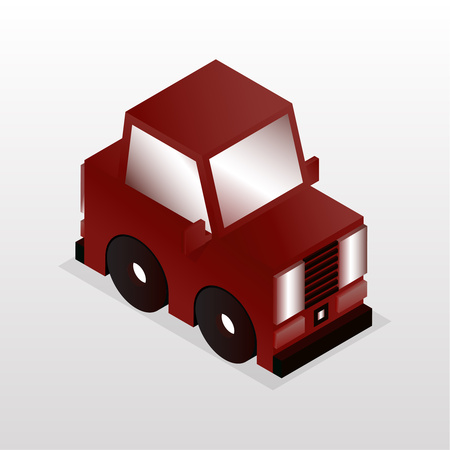 Bright cartoon gaming car in the style of flat. Isometric game design. Vector graphics.